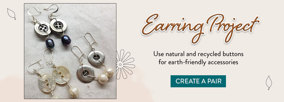 Pearl Button Earrings - Craft buttons; Buy buttons