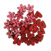 Wood Hearts Red/Pink
