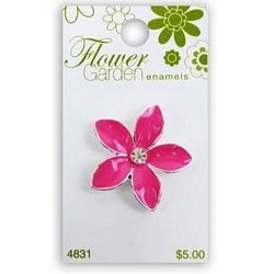 Pink Flower with Crystal