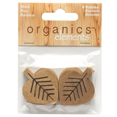 "Natural Leaves 1 1/2"" (38MM)- 3 Packages of 6 Buttons"