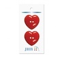 "Heart Beat Red 1 1/4"" (32MM) - 3 Packs of 2 Buttons"